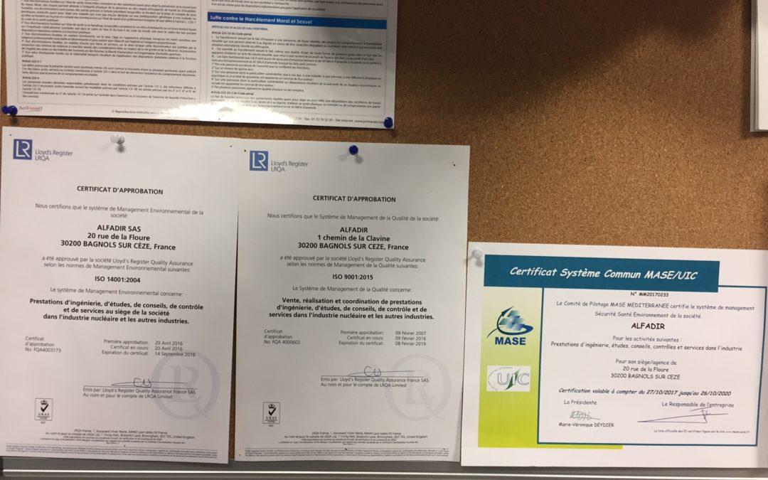 Certification MASE pour Alfadir